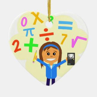 Math Girl Cartoon Ceramic Ornament