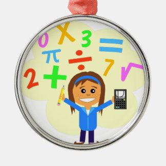 Math Girl Cartoon Metal Ornament