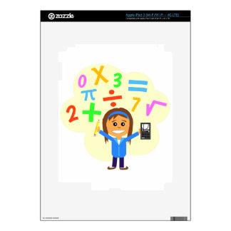 Math Girl Cartoon Skin For iPad 3