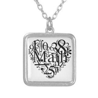 Math Heart Silver Plated Necklace