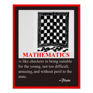 Math Humor and quote by Plato Poster
