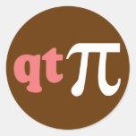 Math Humor - Cute Tee Pi Round Stickers