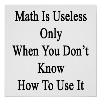 Math Is Useless Only When You Don't Know How To Us Poster