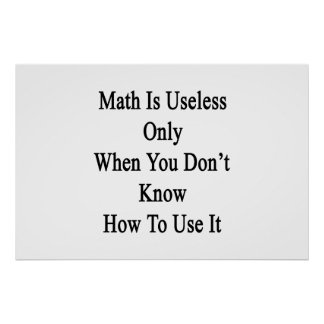 Math Is Useless Only When You Don't Know How To Us Posters