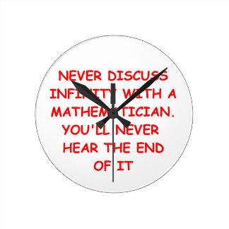 math joke round wall clocks