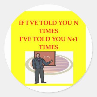 math joke round sticker