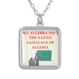 math joke silver plated necklace