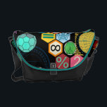 "math love black messenger bag<br><div class=""desc"">colored hexagons with mathematical symbols,  trigonometry computations and numbers</div>"