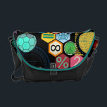 "math love black messenger bag<br><div class=""desc"">colored hexagons with mathematical symbols,  trigonometry computations and numbers</div>"