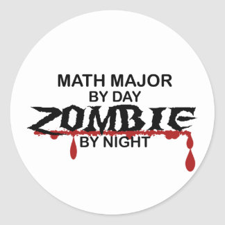 Math Major Zombie Classic Round Sticker