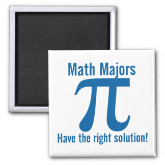 Math Majors have the right solution 2 Inch Square Magnet