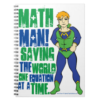 Math Man Comic Book Hero Notebook