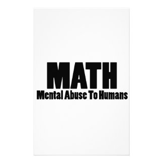 Math. Mental abuse to humans Stationery