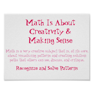 Math Mindsets Poster-Recognize and Solve Patterns Poster