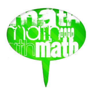 Math; Neon Green Stripes Cake Pick