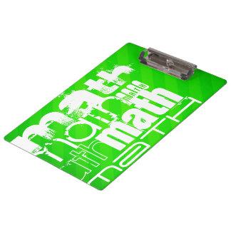 Math; Neon Green Stripes Clipboard