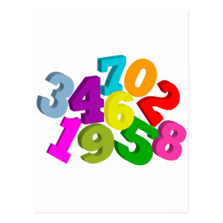 math numbers in color postcard