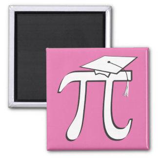 Math Pi Graduate PINK 2 Inch Square Magnet
