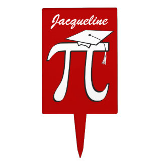 Math Pi Graduate - Red and White Graduation Cake Topper