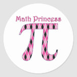 Math Princess Pink and Black.png Round Stickers