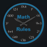 "Math Problem Classroom Clock - Math Rules<br><div class=""desc"">Looking for a math problem clock? This great math wall clock features the words &quot;Math Rules&quot; in blue on a black background in the center with a coordinating blue border. The numbers on the clock are printed in white and there are math problems which must be solved in order to...</div>"