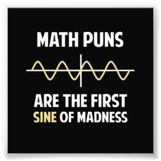 Math Puns First Sine of Madness Photo Print