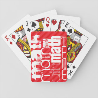 Math; Scarlet Red Stripes Playing Cards