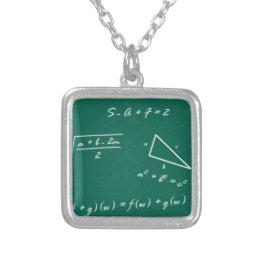 math teacher algebra geek silver plated necklace