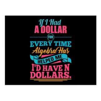 Math Teacher Algebra Pun N Dollars Postcards