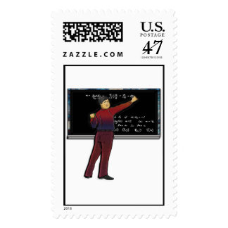 Math Teacher at Chalkboard Postage Stamp