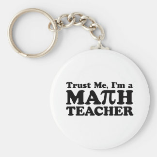 Math Teacher Basic Round Button Keychain