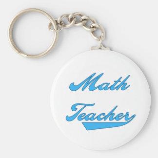 Math Teacher Blue Text Tshirts and Gifts Keychain