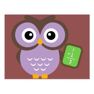 Math Teacher Owl Cartoon Postcard