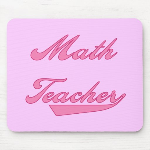 Math Teacher Pink Text T-shirts and Gifts Mouse Pad