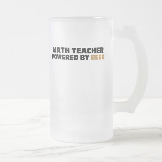 Math Teacher Powered By Beer Frosted Glass Beer Mug