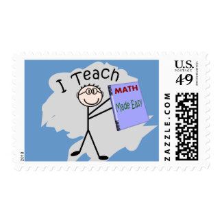 "Math Teacher Stick Person ""I Teach"" Postage"