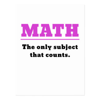 Math the Only Subject that Counts Postcard