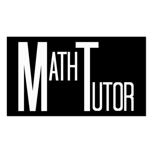 Math Tutor Black and White Business Cards