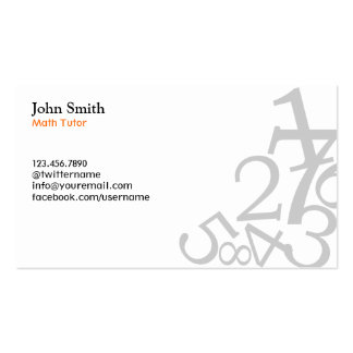 Math Tutor Simple Numbers Teacher Plain Double-Sided Standard Business Cards (Pack Of 100)