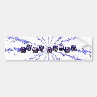 Math Tutor toy blocks in blue Car Bumper Sticker