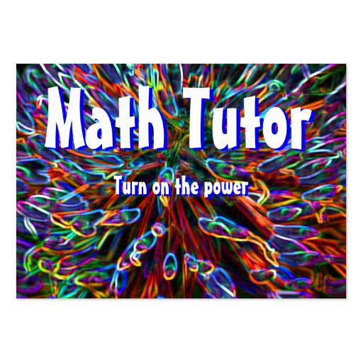 Math Tutor , Turn on the power... Large Business Cards (Pack Of 100)