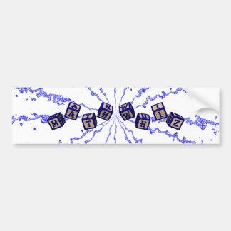 Math Whiz toy blocks in blue Car Bumper Sticker