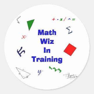 Math Wiz in Training Round Sticker