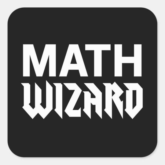 Math wizard square sticker