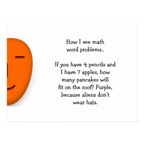 Math Word Problems Funny Send a Smile Postcard