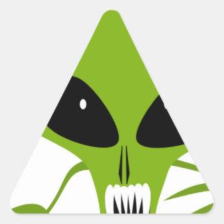 mathafix GREEN HOSTILE ALIEN CARTOON GRAPHIC LOGO Triangle Sticker
