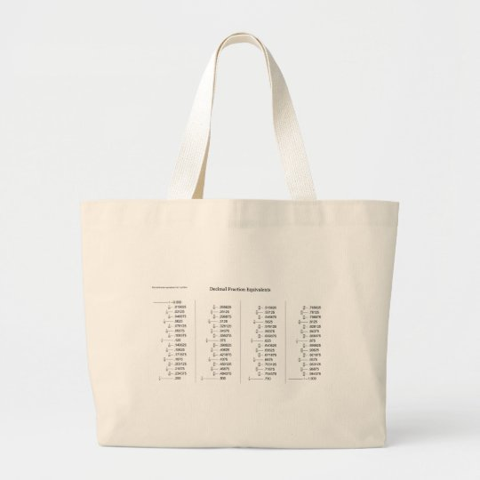 Mathematical Chart of Decimal Fraction Equivalents Large Tote Bag