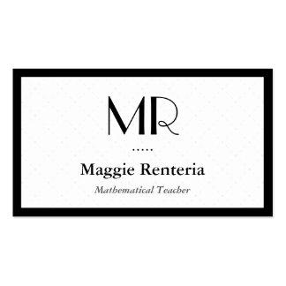 Mathematical Teacher - Clean Stylish Monogram Business Card