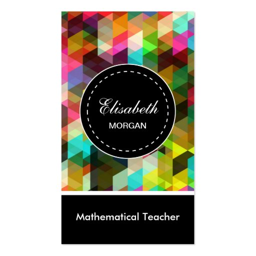 Mathematical Teacher- Colorful Mosaic Pattern Business Card Template