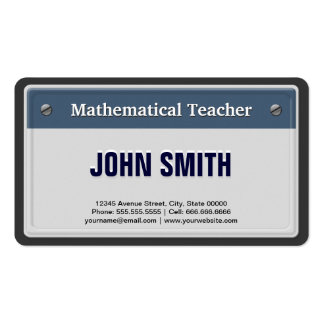 Mathematical Teacher Cool Car License Plate Double-Sided Standard Business Cards (Pack Of 100)